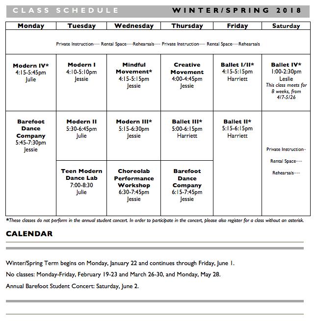 w/s 2018 schedule