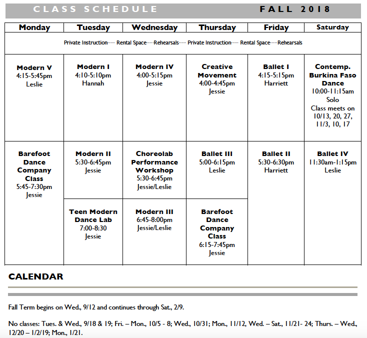 Fall 2018 Sched
